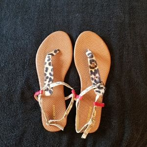 Lane Bryant Animal Print Strap Sandals New